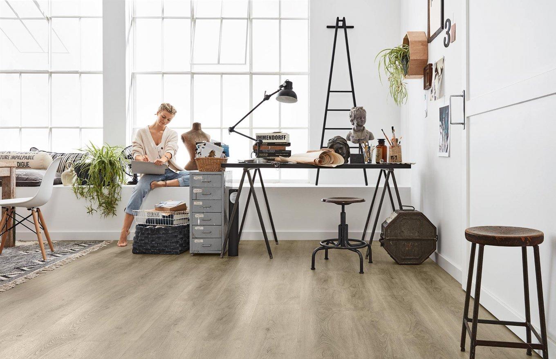 Loft Areitsbereich Vinylboden Rigid SPC Boden Klicken Arbeitszimmer Eiche Holzoptik