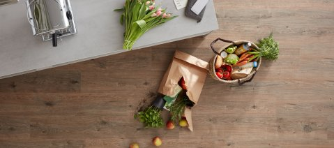 elastischer bodenbelag Küche Vinylboden Holzoptik