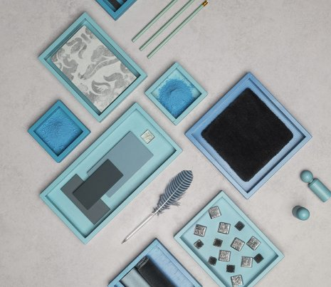 wineo 1500 Fusion Materialmix Collage Blau Farbe Bodenbelag