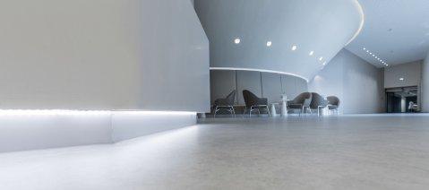 wineo PURLINE Bioboden Empfangsbereich Klinik weiß