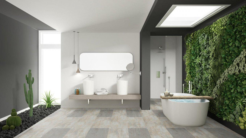 Panele podłogowe do łazienki z kolekcji wineo800stone z dekorem Concrete Heavy Metal